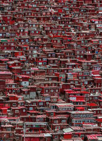 Papier Fototapete Rote Häuser China 184x254cm – Bild 1