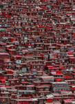 Papier Fototapete Rote Häuser China 184x254cm 001