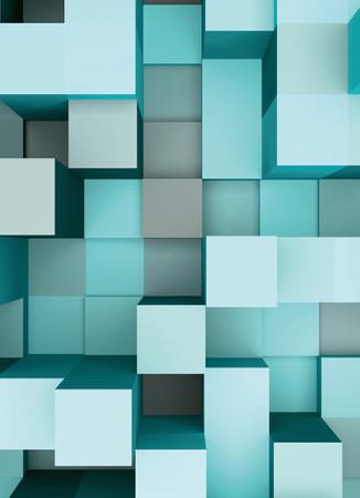 Vlies Fototapete 3D Quadrate blau 184x254cm – Bild 3