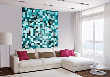 Vlies Fototapete 3D Quadrate blau 184x254cm – Bild 2