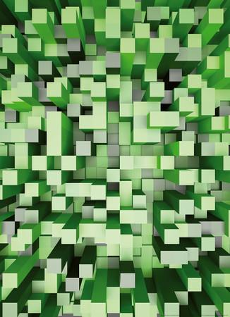 Vlies Fototapete 3D Quadrate grün 184x254cm – Bild 1