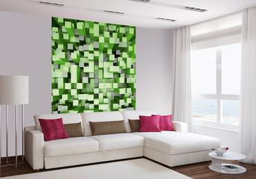 Vlies Fototapete 3D Quadrate grün 184x254cm – Bild 2
