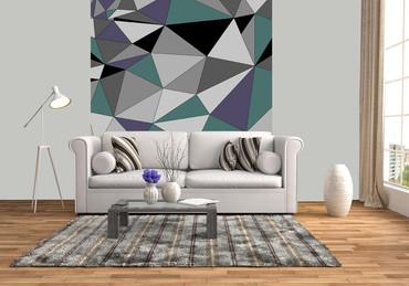Vlies Fototapete Kunst Polygone 2 184x254cm – Bild 2