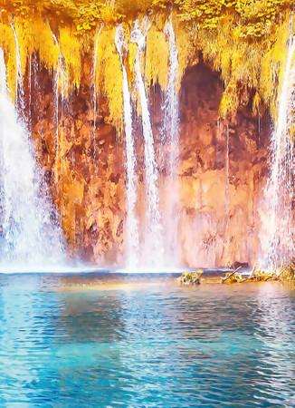 Vlies Fototapete Wasserfall und See in Kroatien 184x254cm – Bild 3