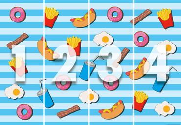 Papier Fototapete Fast Food Küche Blau 368x254cm – Bild 4