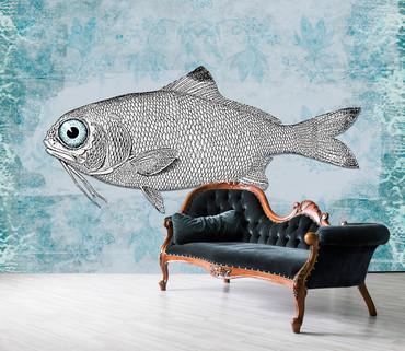Papier Fototapete Vintage Fisch 368x254cm – Bild 2