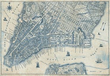 Papier Fototapete Alter Vintage Stadtplan New York 368x254cm – Bild 1