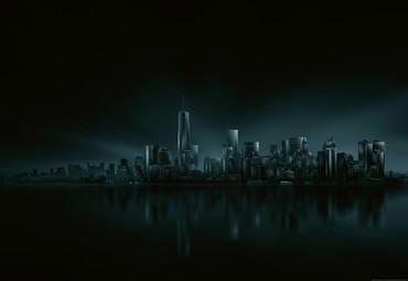 Papier Fototapete Dunkle Skyline von New York 368x254cm – Bild 1