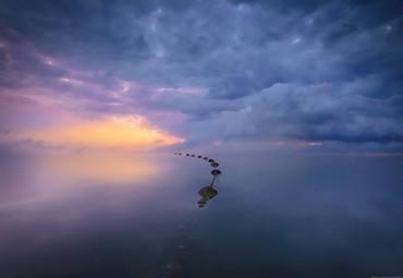 Papier Fototapete Meer, Wolken & Sonnenaufgang 368x254cm