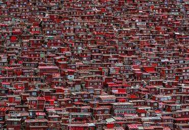 Papier Fototapete Rote Häuser China 368x254cm – Bild 1