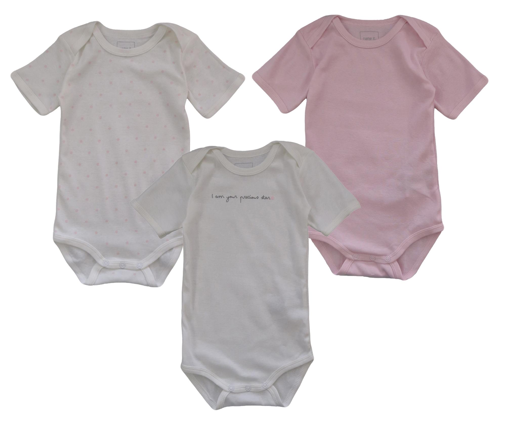 Name It 3er SET BODY Baby Kinder Mädchen Bodys Einteiler Unterwäsche kurzarm