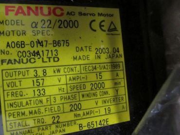 Fanuc A06B-0147-B675 A22/200 Servo Motor unbenutzt OVP – Bild 2