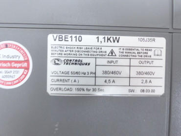 Control Techniques Vector VBE 110 VBE110 400V 1,1kw Top Zustand TESTED – Bild 4