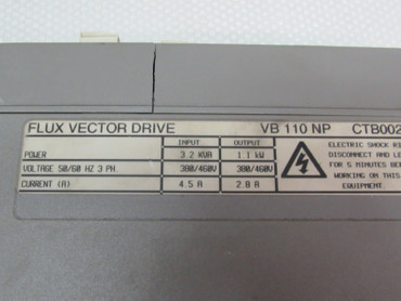 Control Techniques Flux Vector Drive VB110 NP 1,1kw TESTED Cover is broken – Bild 2