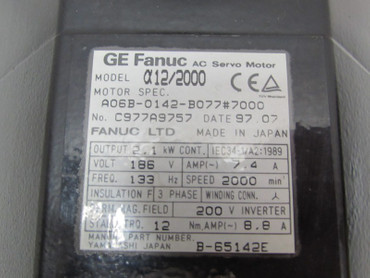 Fanuc A06B-0142-B077#7000 alpha12/2000 Speed 2000 2,1kW Top Zustand – Bild 2