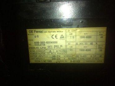 Fanuc A06B-0855-B200#3000 Spindle Motor alpha 8 max 6000 Top Zustand – Bild 2