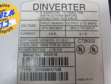 Control Techniques Dinverter DIN3380075B 0,75kW 400V 2,1A Top Zustand TESTED – Bild 3