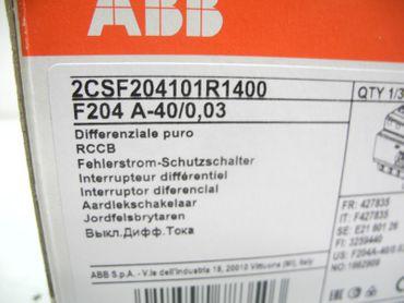 ABB 2CSF204101R1400 F204 A-40/0,03 FI RCD Fehlerstrom 40A 30mA 4-pol Versiegelt – Bild 2