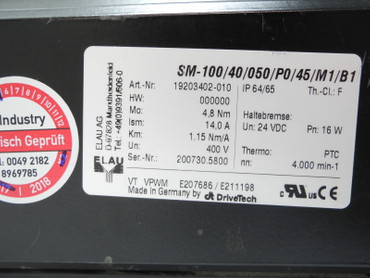 Elau Servomotor SM-100/40/050/P0/45/M1/B1 4,8Nm 4.000min-1 Top Zustand TESTED – Bild 4