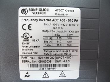 Bonfigioli Vectron Frequenzumrichter ACT 400-010 FA 400V 10A 4kW Top TESTED – Bild 4
