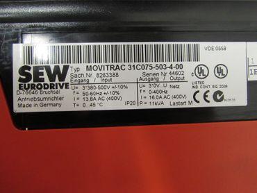 SEWMovitrac31C075-503-4-00 Out: 16,0A AC 400V, 11kVA 7,5kw mit BUS Karte – Bild 2