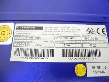 Kollmorgen SERVOSTAR 601 3x230-480V  1Kva S60100-EI Neuwertig – Bild 3