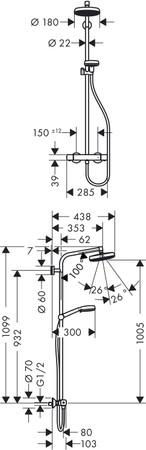Hansgrohe Crometta 160 1jet Showerpipe 27264400 – Bild 2