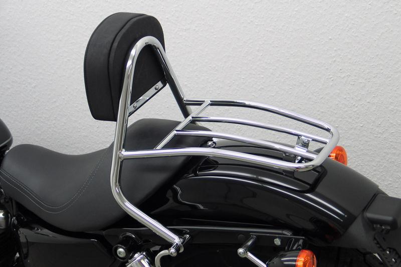Fahrer Sissy Bar mit Kissen und Gepäckträger, Harley Davidson Sportster Evo 2004- (Custom, Roadster/Low, Nightster/Iron)