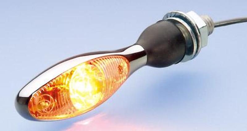 Blinker Micro 1000 LED, chrom, Glas transparent, mit M8x20 flexible Befestigung, E-gepr. für hinten und vorne