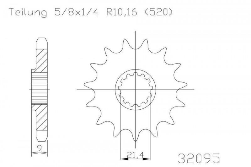 Ritzel 12 Zähne Stahl 520er Teilung (5/8x1/4)