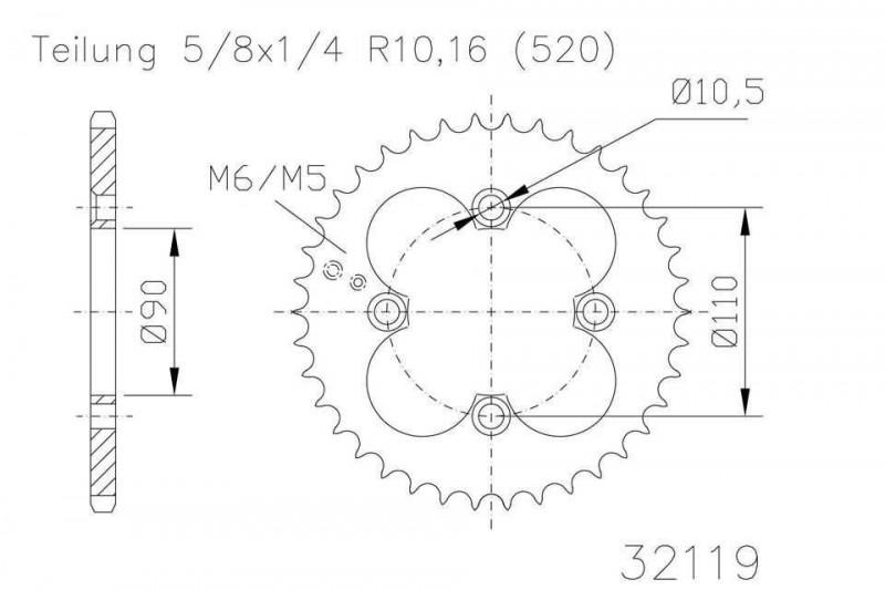 Kettenrad 32 Zähne Stahl 520er Teilung (5/8x1/4)