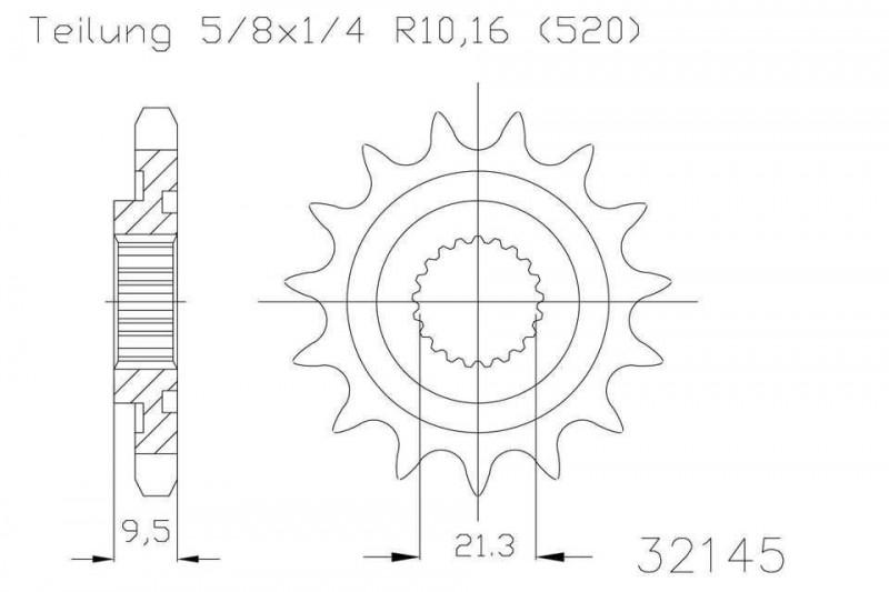 Ritzel 13 Zähne Stahl 520er Teilung (5/8x1/4)