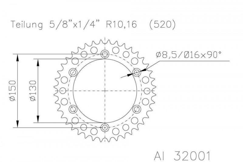 Kettenrad  51 Zähne Alu 520er Teilung (5/8x1/4)
