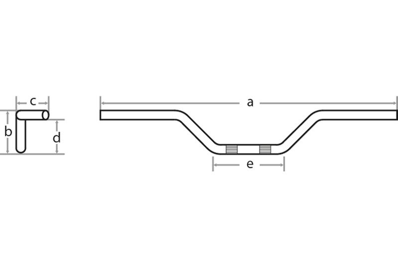 FEHLING Fat Flyer Bar, 1 1/4 Zoll/1 Zoll, B 91 cm, Schwarz
