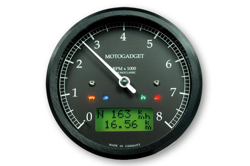 motogadget Chronoclassic Drehzahlmesser -8.000 U/min, grüne LCD Anzeige