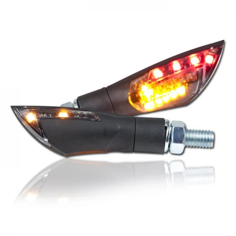 "LED-Blinker Rücklichtkombi ""Dual"", schwarz, M8, Paar, L 50 x T 20 x H 18 mm, getönt, E-geprüft – Bild 1"