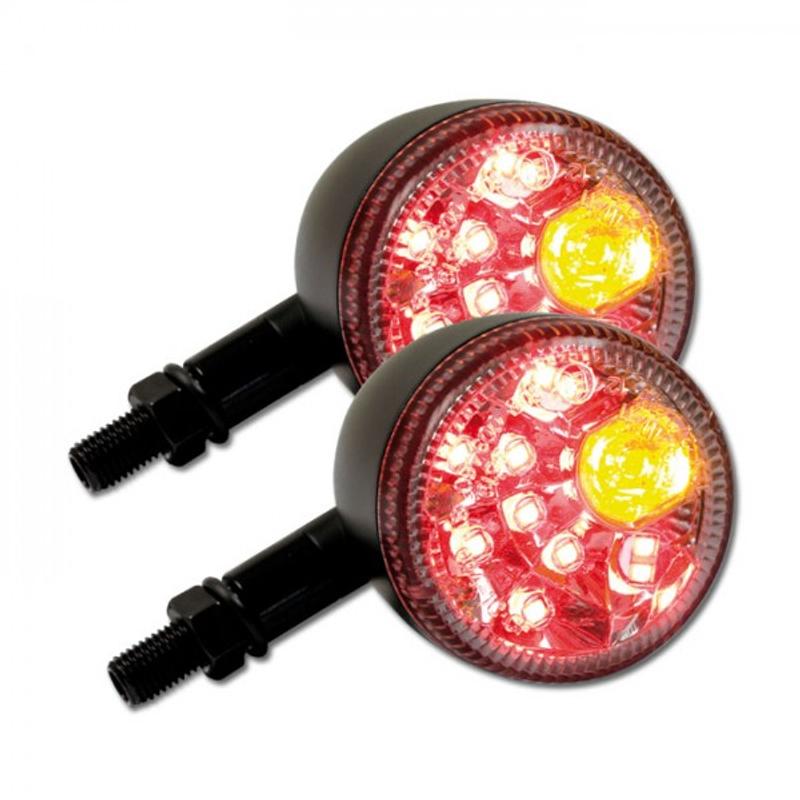 "LED-Blinker Rücklichtkombi ""Prisma"", Paar, M10, schwarz matt, klar, L:88 mm Ø:60 mm, E-geprüft – Bild 1"