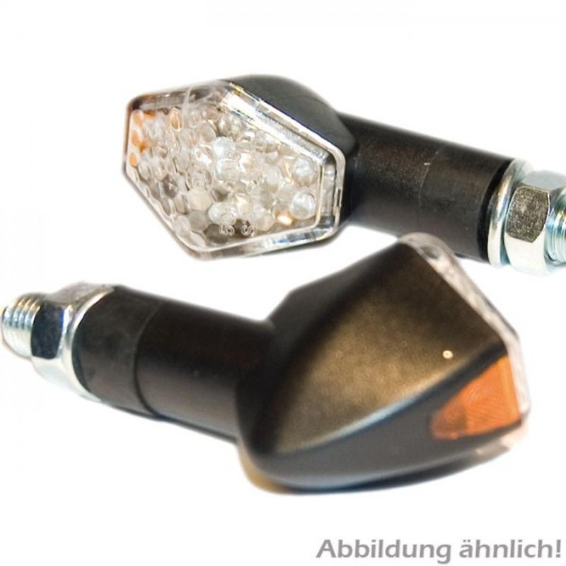 LED-Blinker Diamond, schwarz, lang, E-geprüft, LED s 12V/2W, klares Glas, M10 – Bild 2
