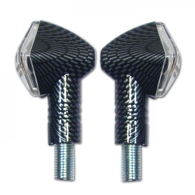 LED-Blinker Diamond, carbonlook, kurz, E-geprüft,* 13 LED s 12V/2W, klares Glas, M10 – Bild 1