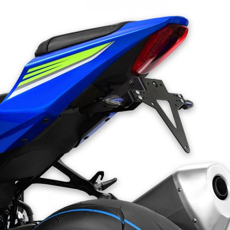 Kennzeichenhalter SUZUKI GSX-R 1000/R, Bj. 17-18, verstellbar, schwarz, inkl. Reflektorhalter