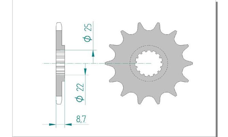 AFAM Kettensatz Alu, BETA RR 400 Enduro, mit A520XRR3-G Kette – Bild 3