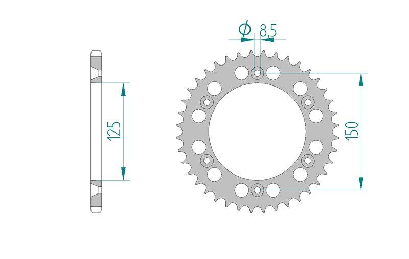AFAM Kettensatz Alu, HUSQVARNA TE 250, mit A520XRR3-G Kette – Bild 4