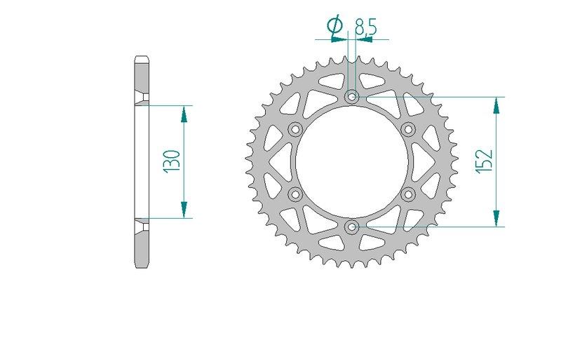 AFAM Kettensatz Alu, APRILIA RXV 450, mit A520XRR3-G Kette – Bild 4