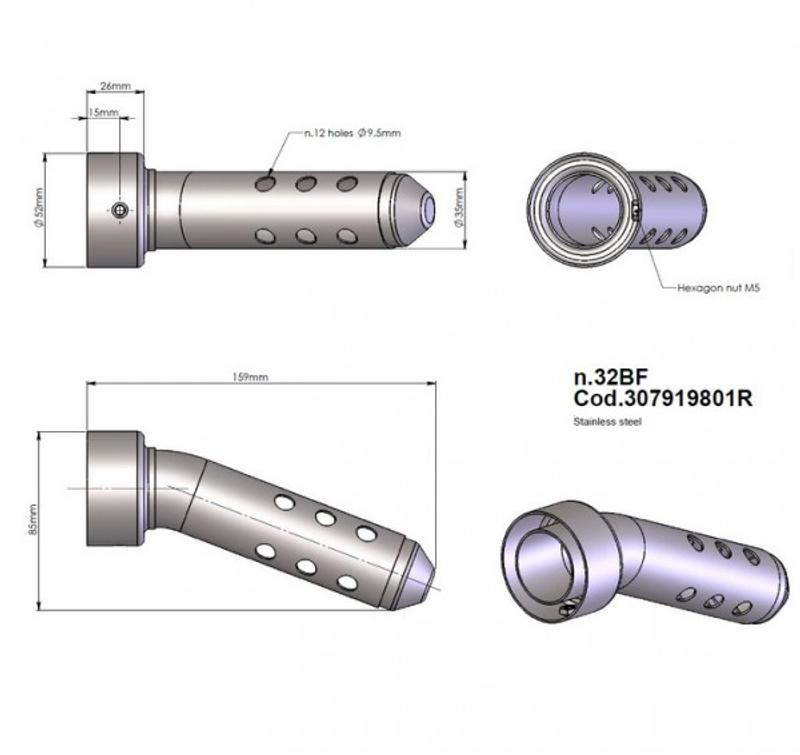 Leovince SBK DB-eater, Nr. 32 BF / Code 307919801R Maße: Dämpfer Ø 52 mm / Ausgang 35 mm / L: 159 mm