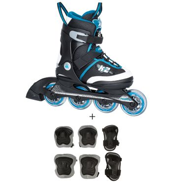 K2 Roadie Junior Pack - verstellbare Kinder Inliner Skates + Schoner - 30A0723