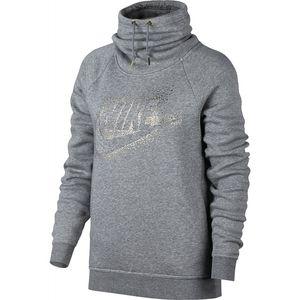 Nike W NSW Rally Hoodie Funnel-Neck Metallic - Damen Pullover - 874114-091 grau/silber