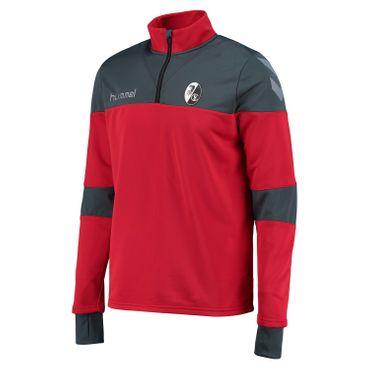 Hummel SC Freiburg Sirius - Herren Half Zip Sweatshirt - 033035-4097 rot/grau