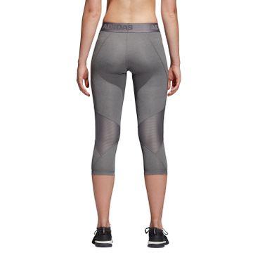 adidas Alphaskin Sport Heather 3/4 Tight - Damen Laufhose Running Leggings - CE3972 grau