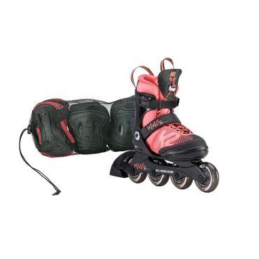 K2 Marlee Pro Pack Jr. Kinder Inlineskates größenverstellbar + Schoner Set 30D0502 - koralle/schwarz