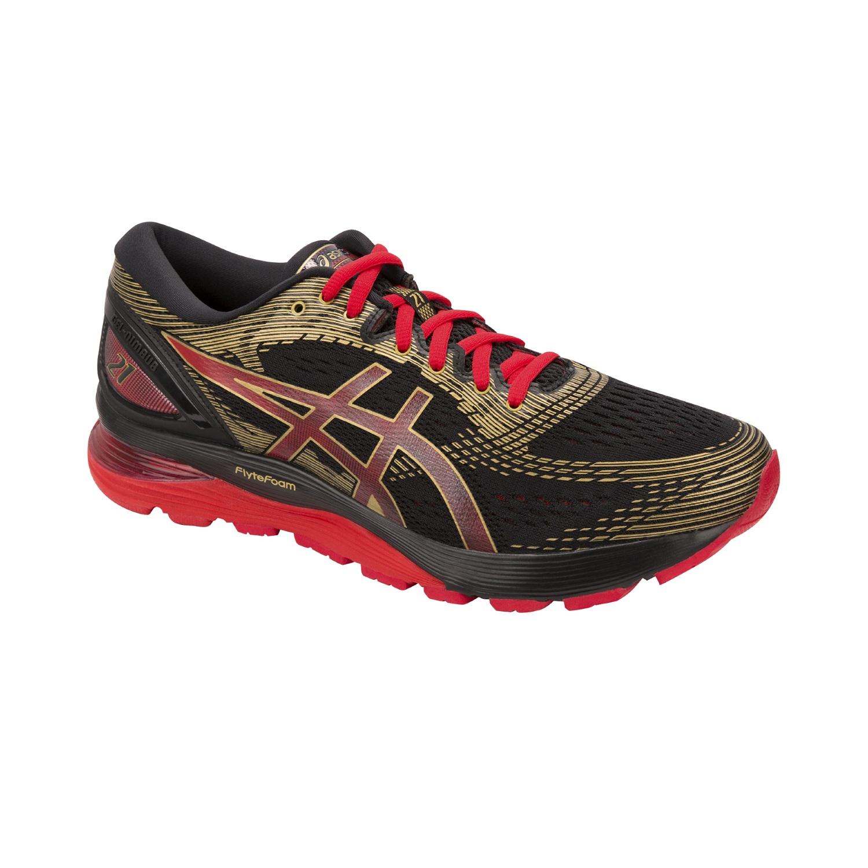 Asics Gel-Nimbus 21 - Herren Laufschuhe Running Schuhe - 1011A257-001 schwarz/rot/gold